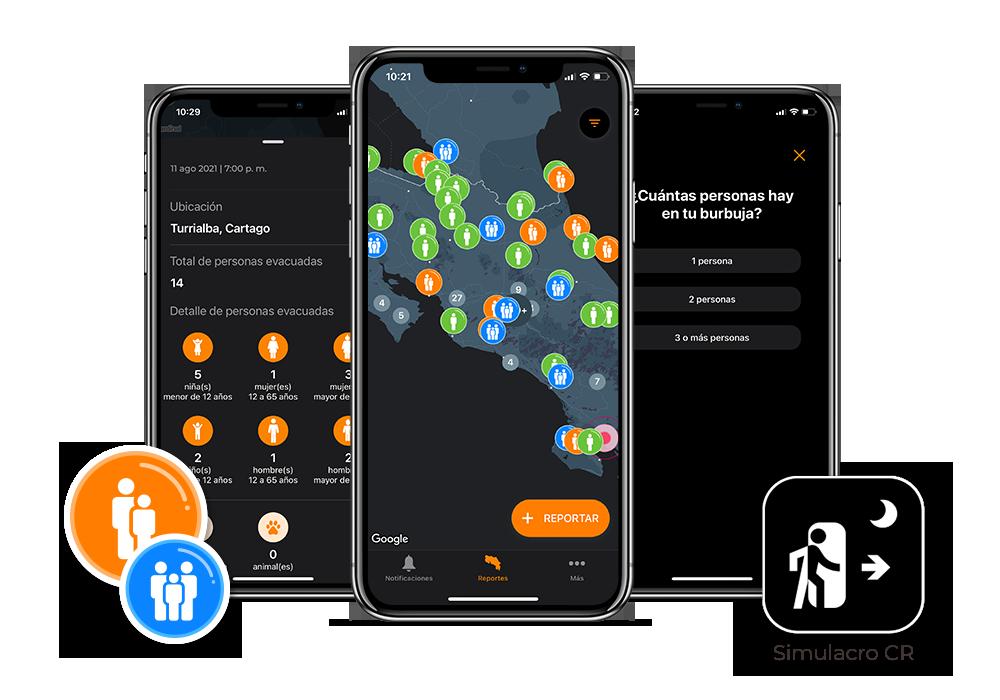 Imagen con 3 pantallas de la aplicación móvil Simulacro CR, donde se muestra el mapa de Costa Rica y dos preguntas del formulario para reportar